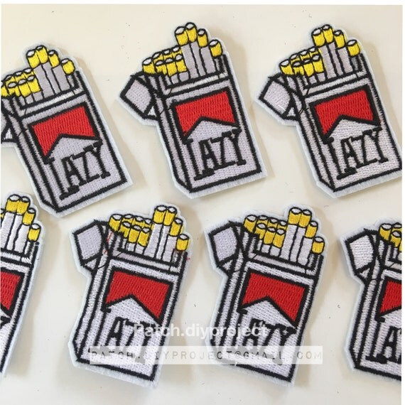 Lazy cigarette embroidered iron on patch