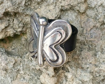 Leather and zamak, Butterfly butterfly Ring leather ring