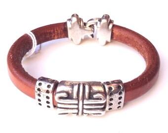 Liquorice and Zamak leather bracelet for men, leather bracelet for men, Mens leather Bracelet Licorice