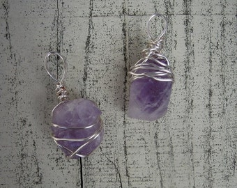 Non Tarnish Amethyst Wire Wrapped Pendant 2 styles
