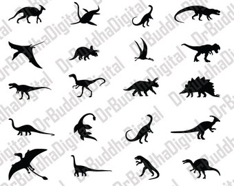 Dinosaur SVG Collection - Dinosaur DXF - Dinosaur Clipart - T Rex Svg - Stegosaurus Svg - Svg Files for Silhouette Cameo or Cricut