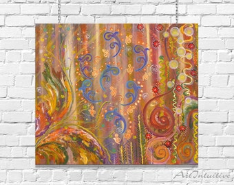 Meditation painting Brown Yellow Blue Spirits Abstract painting 70х80 cm Wall art