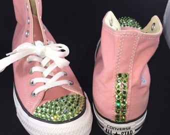 Custom Blinged Out High Top  Converse-- Front and Side Design