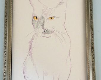 "Cat With Golden Eyes sketch // Original Sketch // Animal Drawing// Pet Drawing // Hand Drawn //  4.5"" x 6.5"""