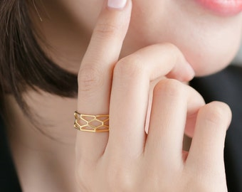 Hexagon Statement Ring/14K Gold plated/Geometric Ring/3D Printed Jewelry/Sterling Silver