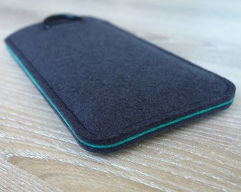 S7 ANTHRACITE/AQUAMARINE · Cell phone case for Samsung Galaxy S7 with pull tab sleeve case made of wool felt