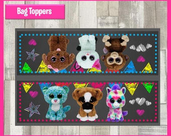 80% OFF SALE  Beanie Boo Chalkboard Party Toppers instant download, Printable Birthday favors Beanie Boo Bags Topper, Beanie Boo Party Bags
