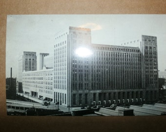 Old Vintage Rare Collectible Postcard Picture black and white New Post Office Chicago