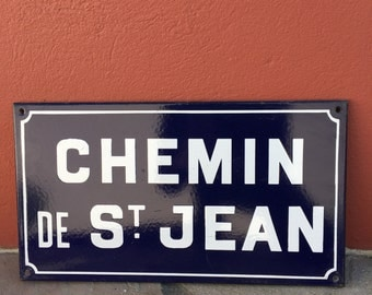 Old French Street Enameled Sign Plaque - vintage st jean