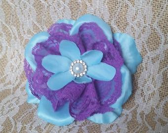 Blue and Purple Flower Fascinator