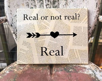 Hunger Games Wall Art - Suzanne Collins - Real or not real? - Your choice of quote - Book page Wall hanging
