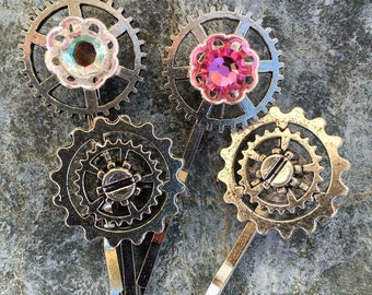 Steampunk Pink and Silver Hair Pin Set