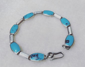 Vintage 925 Silver authentic turquoise bracelet era 1970