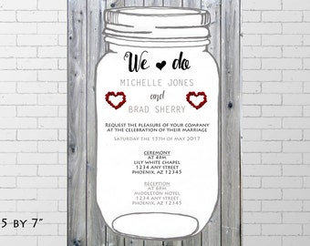 Wedding Invitation, rustique wedding invitation, printable invitation, wedding grey and white, save the date, red roses, cute wedding invite