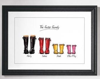 Custom family print gift Personalised Family print Custom Friend Art Wellies print Personalised gift art Wall art Home decor Wellington boot
