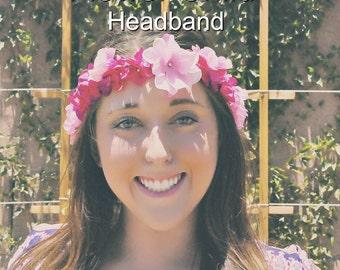 Flower Crown, Flower Headband, Coachella, Music festival, Rave accessory, Boho headband, Hippie headband,  flower girl headband flower crown