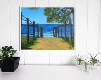 Beach Painting, Beach Art Print, Abstract Art