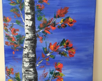 Palette knife birch tree in fall acrylic painting