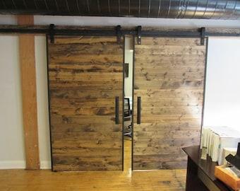 Industrial Reclaimed Wood Barn Doors On Steel Track Reclaimed Pine Barn Doors & Reclaimed wood doors | Etsy Pezcame.Com