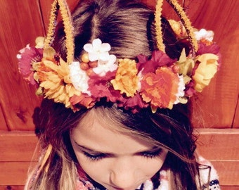 Halloween Cat Crown, Cat Ears, Floral Crown, Flower Crown, Fall Crown, Boho Cat Ears, Cat Flower Crown, Head Wreath, Bohemian Crown