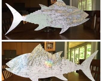 Hand Made Tuna Fish and Navigation Chart Wall Art