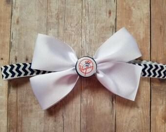 New york yankees bow headband-Yankees for girl- yankees headband for baby-yankees baby girl shower gift-ny yankees bow headband