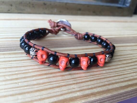 Sugar skull, Halloween, orange and black, single wrap bracelet, carved silver accent beads, skull, gift