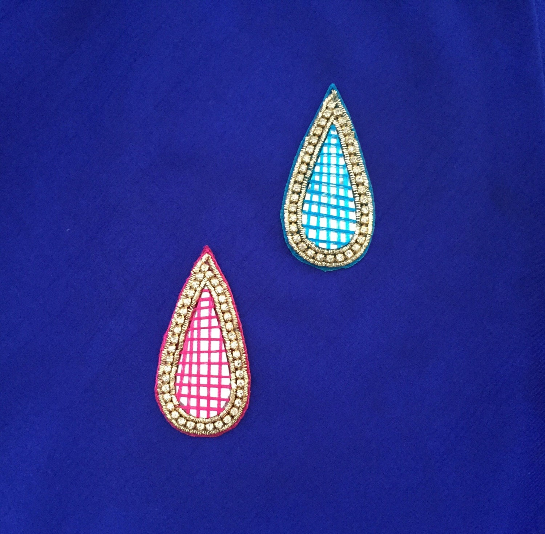 Teardrop indian mirror applique pink blue dress patch indian for Applique miroir