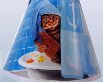 Cat in the Shower decorated nightlight