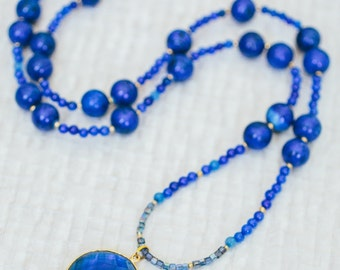 Necklace with lapis beads,cobalt jade and blue quartz pendant