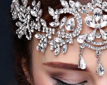 Bridal Head Piece Hair Jewelry Bride Glam Crystal Head Band