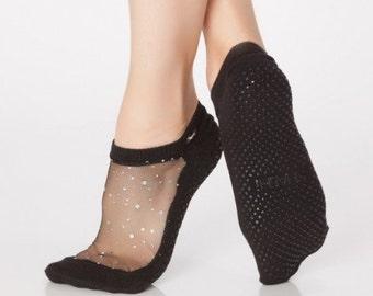 Shashi Glitter Mesh Non Slip Fitness Socks
