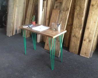 Industrial Handcrafted Reclaimed Wood Small Desk Vintage Retro Green Hairpin Legs