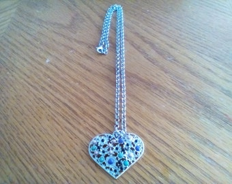 Silver heart necklace with multi-color beads