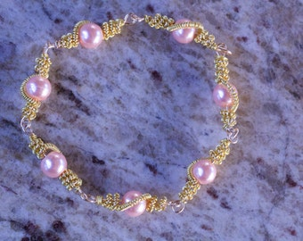Pink and Gold Wire Wrapped Bracelet