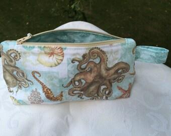 Octopus and Sea Life A-line Makeup Bag