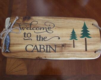 Cheese board, cabin cheese board, lake house cheese board, rustic cheese board, lake, cabin