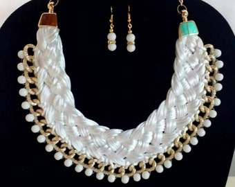 White braided necklace, Chunky bib necklace, Statement necklace