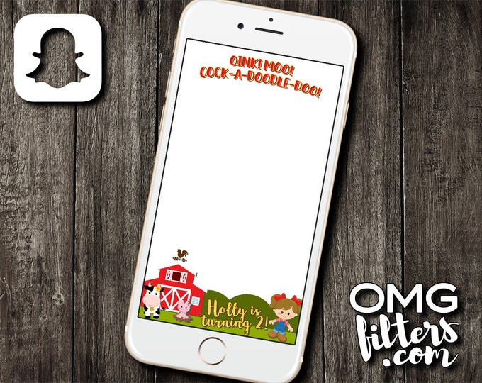 Farm Animals Geofilter - Custom Snapchat Filter - Birthday / Baby Shower - Any Event - Any Age!