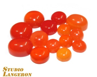 Carnelian Cabochon Round Natural Gemstone Calibrated Size - 1 piece