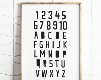 alphabet number printable, kids educational print, wall art counting, alphabet printable, instant download