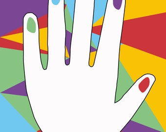 Colourful Abstract Art Hand Design Digital Print