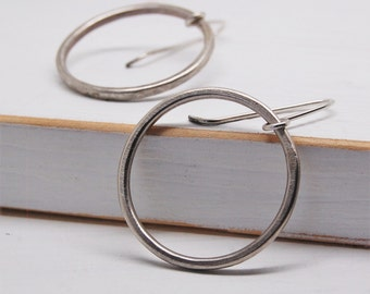 Sterling Silver Hammered Hanging Hoop Earrings