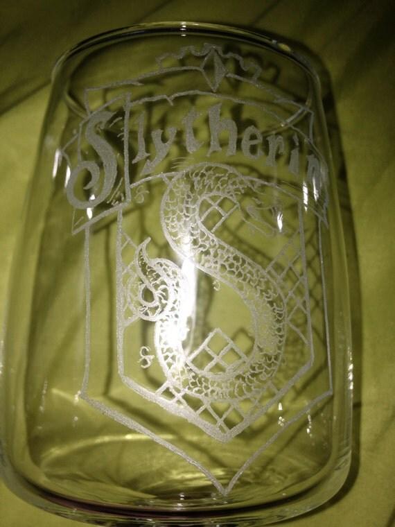 Slytherin wine glass