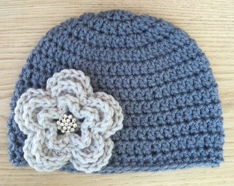 Toddler Beanie with Flower - whole shop is 20% off!!