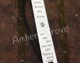 Personalised aluminium handstamped bookmark with coloured ribbon