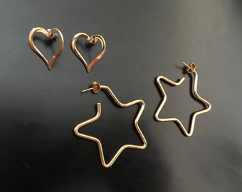 Gold toned star and heart earrings