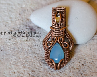 Wire Wrapped Pendant with Chalcedony - Wire Weave Copper Pendant