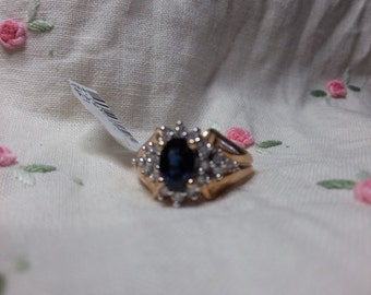 Sapphire & Diamond Ring 1.5 CT 14K Yellow Gold Size 7