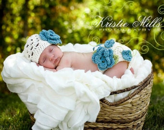 Flower Diaper Cover and Head piece